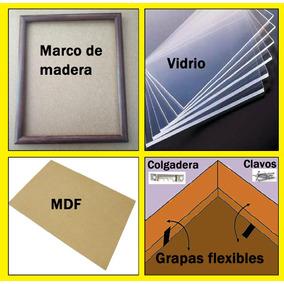 8 Marcos De Madera,(marco,vidrio,mdf,caiman,grapas), Carta.