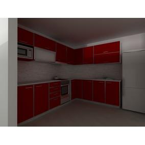 Muebles Cocina Rojo - Amoblamientos Completos de Melamina y Fórmica ...