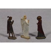 Lote De 5 Antiguas Figuras Semi Planas En Plomo Pesebre