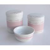 Ceramica 3 Kit Higiene Florzinha Jardim Princesa Poa Rosa