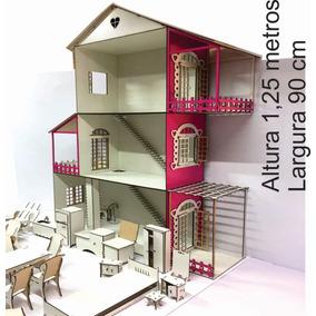 Casinha Para Boneca Barbie + 22 Moveis (branca + Rosa )