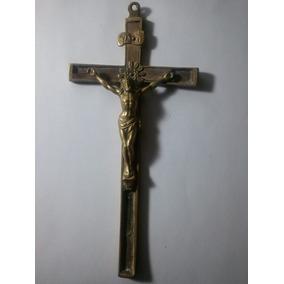 Antiguo Crucifijo Con Cristo De Bronce Pesado Para Restaurar