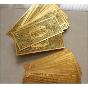 Cédula 1 One Dollar Dinheiro Decoração Lamina Ouro 24 K