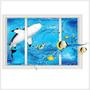 3d Wall Sticker Adesivo 3d Piso Parede Tubarão Shark Window