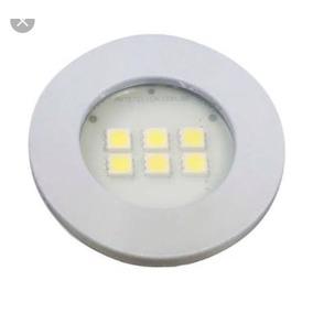 Spot Aluminio Redondo Embutir Em Moveis 6 Leds Branco Quente