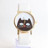 Relógio Preto Feminino Fashion Desenho Gato Couro Lindo Moda