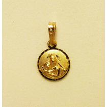 Medalla De Oro Macizo 14 K Divino Rostro Y Virgen 1.2 Cm