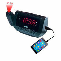 Rádio-relógio Digital Com Projetor De Horas E Carregador Usb