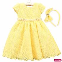 Vestido Infantil Renda Amarelo Bela Magali Luxo Com Tiara