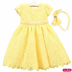 Vestido Infantil Renda Amarelo Bela Magali Luxo 1 A 3 Tiara