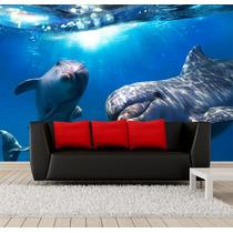 Pepel De Parede Paisagem Golfinhos Em 3d Para Sala