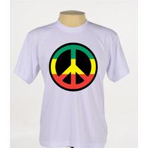 Camisa Camiseta Estampada Reggae Simbolo Da Paz Manga Curta