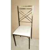 Cadeira De Ferro P Buffet Preta Com Dourado Metalon 20x20