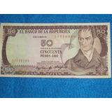 Billete De 50 Pesos Colombianos Año 1985