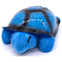 Luminaria Infantil Tartaruga Azul Céu Estrelado Musical