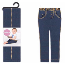 Meia Calça Infantil Legging Feminina Estilo Jeans Selene