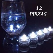 12 Velas Sumergibles Blancas Led Centros De Mesa Luz Blanca