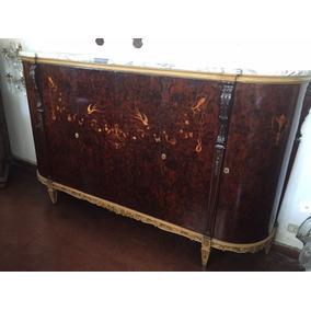 Antiguo Aparador Vajillero Mueble Bajo Con Marmol Bahiut