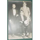 Fotografia Antigua Tres Caballeros Sombreros Trajes Sin Data