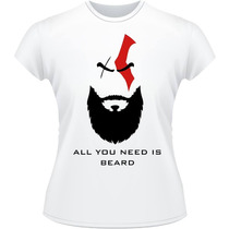 Baby Look God Of War Kratos Beard Camisa Camiseta