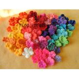 Pack X 20 Flores Tejidas A Crochet Surtido Colores Y Tamaños