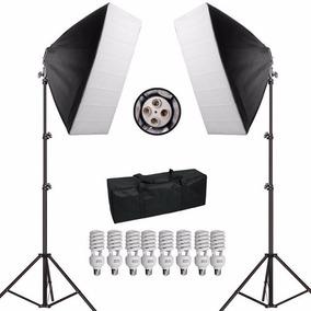 Kit Iluminação Softbox 50x70 Com 8 Lampadas De 45w Bolsa