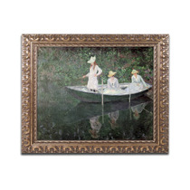 The Boat At Giverny Ornate Framed Canvas Art By Claude Mon