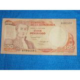 Billete De 100 Pesos Colombianos De 1988