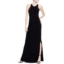 Vestido Largo Negro Con Corte Al Costado