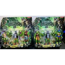 Kit 4 Bonecos Tartarugas Ninjas 15cm + 2 Vilões Gemeos