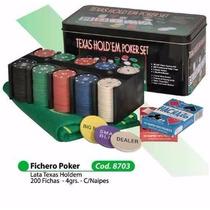 Set De Poker Fichero 200 Fichas + Cartas + Paño