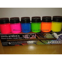 Kit Tinta Nature Colors Neon 6 Cores - Acrilex