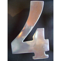 Número Residencial 4 Em Alumínio Polido 19,5 X 12,5cm