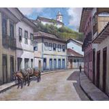 Quadro Pintura Óleo Tela Casario Ouro Preto 38x44cm