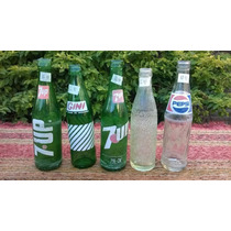Lote De 5 Antiguas Botellas Gaseosa Bilz Seven Gini Pepsi 12