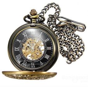 Reloj De Bolsillo Mecánico De Cuerda Metalico Tipo Vintage