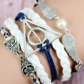 Pulseira Bracelete Couro Harry Potter Relíquias Da Morte