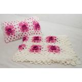 Delicada Colcha Cuna Tejida Al Crochet Con Almohadon