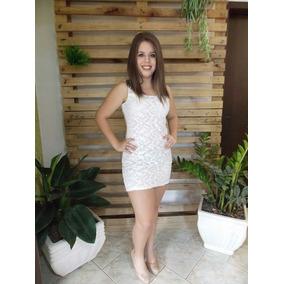 Vestido Branco P M G Tubinho Detalhes Aplicação Em Renda