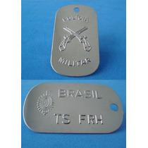 Dog Tag Polícia Militar + Exército Placa Identificação Kit