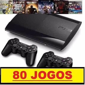 Ps3 Slim 500 Gb+85 Jogos Originais Hd+2 Controles + Gta 5