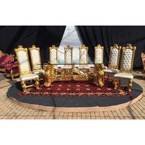 Mesa De Jantar Renascença Com Folha De Ouro 08 Cadeiras Luxo
