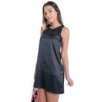Vestido De Cetim Com Renda - Kam Bess - Ve0409