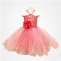 Vestido Tutu Para Niñas En Coral Con Beige Talla 2 A 3 Años