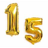 Balão De Numero Metalizado Aniversario 15 - 51 Anos 72cm