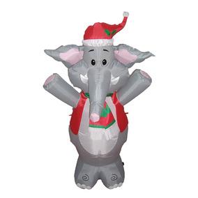 Elefante Navideño Inflable 4pies Adorno Navidad Se Ilumina