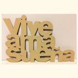 Cartel Letras Palabras Madera Pintar Mdf Fibrofacil Vive Ríe