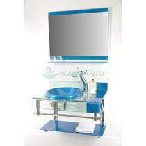 Gabinete De Vidro Banheiro 70cm Azul Royal