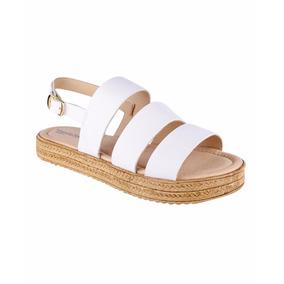 Sandalias Blancas Con Yute Mini Tacón Corrido Plataforma