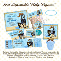 Kit Imprimible Baby Shower Vaquero Niño Mesa Dulces Postres
